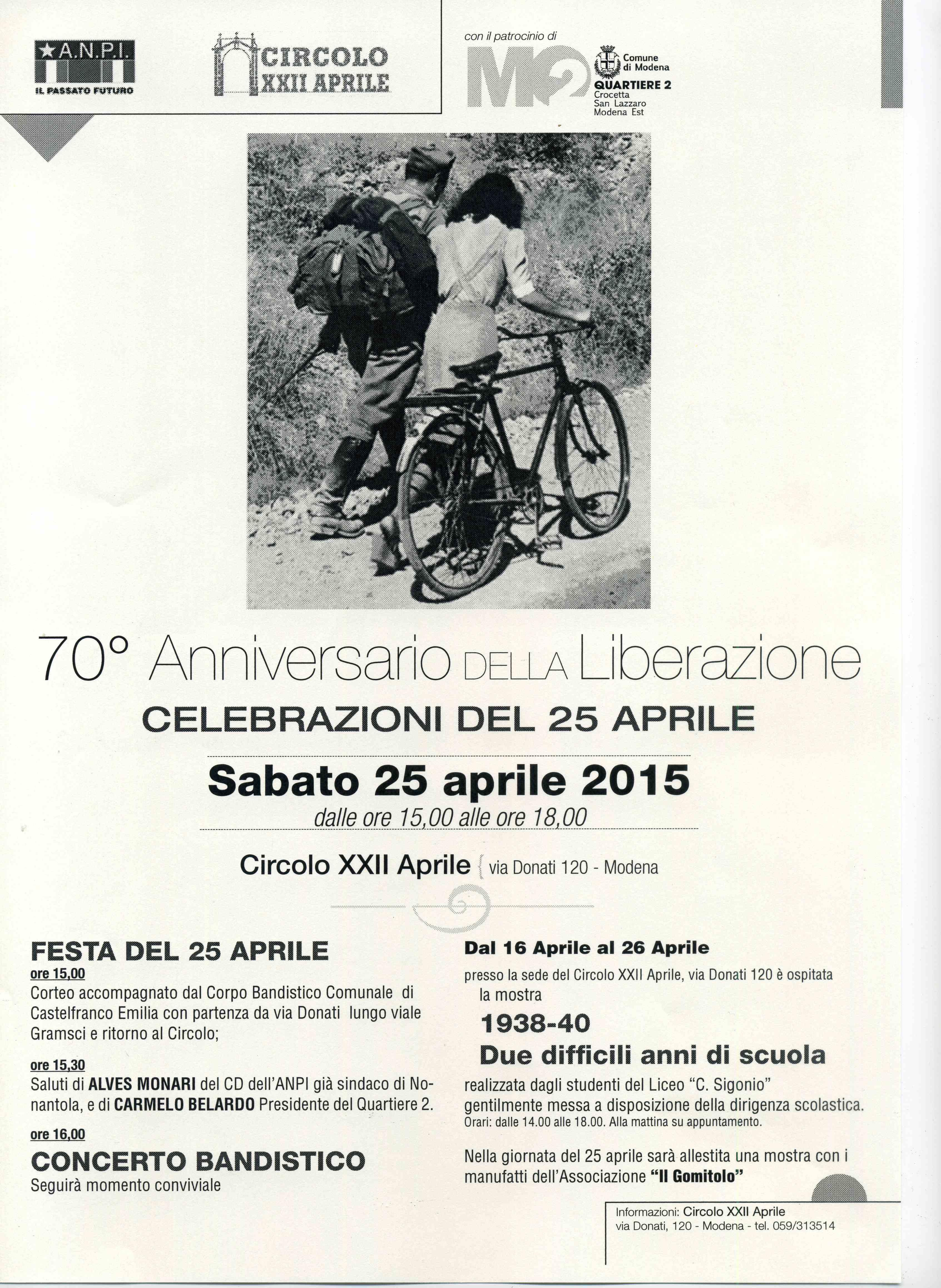 Programma celebrazioni del 25 aprile